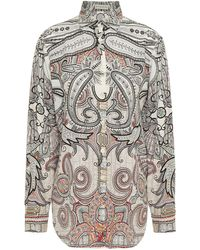 Etro - Printed Silk Crepe De Chine Shirt - Lyst