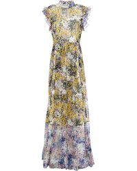 Mikael Aghal Panelled Pleated Floral-print Crepon Maxi Dress - White