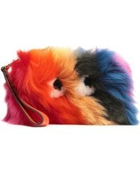 Anya Hindmarch Leather-trimmed Shearling Pouch Multicolour - Orange