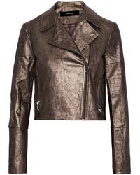J Brand Aiah Coated Snake-print Cotton-blend Twill Biker Jacket Bronze - Multicolor