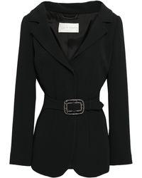 Alberta Ferretti Crystal-embellished Belted Crepe Blazer Black