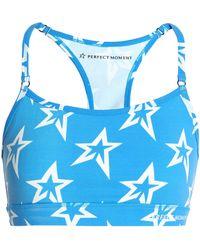 Perfect Moment Printed Stretch-jersey Sports Bra Azure - Blue