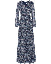 Mikael Aghal Velvet-trimmed Printed Chiffon Maxi Dress - Blue