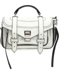 Proenza Schouler Ps1 Cracked-leather Shoulder Bag Off-white