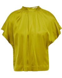 Rodebjer Lau Gathered Washed-satin Top - Green
