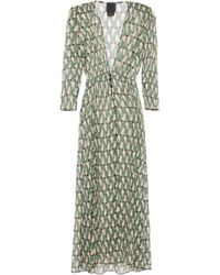Anna Sui - Shirred Printed Georgette Coverup Green - Lyst