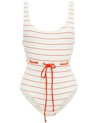 Solid & Striped The Anne-marie Striped Ribbed Swimsuit - White