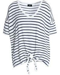 Line - Heidi Tie-front Striped Jersey Top - Lyst