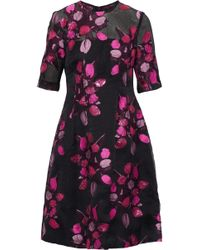 Lela Rose - Holly Embroidered Crinkled Chiffon Dress - Lyst