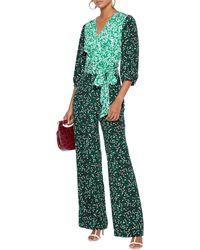 Diane von Furstenberg Blaire Printed Silk-jersey And Crepe De Chine Wrap Jumpsuit - Green