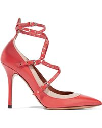 Valentino Woman Love Latch Eyelet-embellished Two-tone Leather Court Shoes Papaya - Red