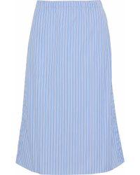Marni Striped Cotton-poplin Skirt Light Blue