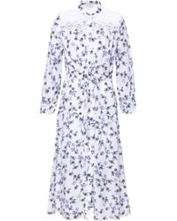 Sandro Broderie Anglaise-paneled Floral-print Gauze Midi Dress White