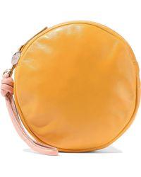 Clare V. Circle Leather Clutch Saffron - Orange