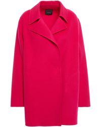 Theory Overlay Wool And Cashmere-blend Felt Coat Fuchsia - Multicolour