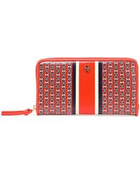Tory Burch - Printed Canvas Wallet Bright Orange - Lyst