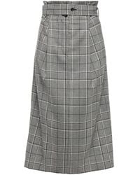Paul Smith Belted Prince Of Wales Checked Twill Midi Skirt - Grey