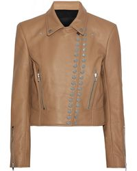 Alexander Wang Studded Textured-leather Biker Jacket Sand - Natural