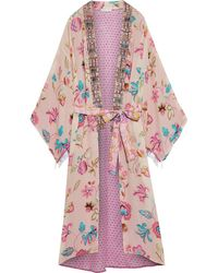 Anjuna Lina Jacquard-trimmed Printed Silk Crepe De Chine Kimono - Pink