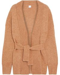 Iris & Ink Katla Belted Brushed Knitted Cardigan Camel - Natural