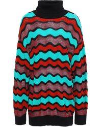 M Missoni Striped Pointelle-knit Cotton-blend Turtleneck Jumper Burgundy - Red