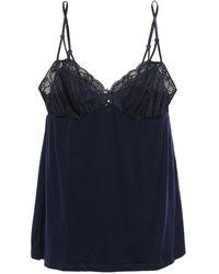 Eberjey Penelope Lace-trimmed Stretch-jersey Pyjama Pants Midnight Blue