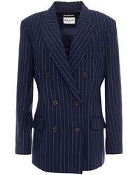 Paul & Joe Pinstriped Linen-blend Blazer Navy - Blue