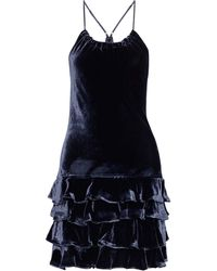 Marissa Webb Everleigh Tiered Velvet Mini Dress Indigo - Blue