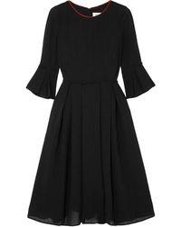 Cefinn Flared Crepe Dress Black
