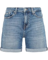 7 For All Mankind 7 For All Kind Faded Denim Shorts Light Denim - Blue