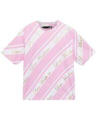 Love Moschino T-shirt Aus Baumwoll-jersey Mit Print In Metallic-optik Größe 38 - Pink