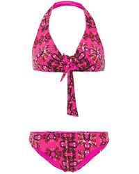 M Missoni Tie-front Printed Halterneck Bikini - Purple
