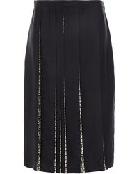 Ferragamo Pleated Printed Silk-twill Skirt - Black