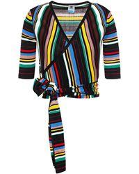 M Missoni Cropped Striped Ribbed-knit Wrap Top - Black