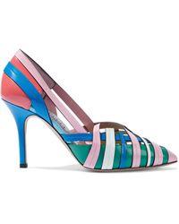 Emilio Pucci Cutout Color-block Leather Court Shoes Baby Pink - Blue