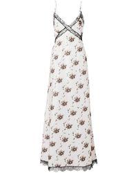 Brock Collection Onorina Lace-trimmed Floral-print Taffeta Maxi Dress - Gray