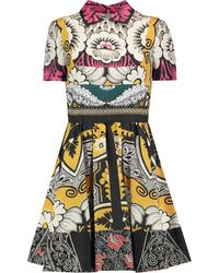 Valentino Pleated Printed Silk Dress Multicolour
