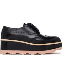 Prada - Perforated Leather Platform Brogues Black - Lyst
