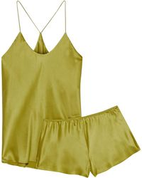 Olivia Von Halle The Bella Silk-charmeuse Pyjama Set Sage Green