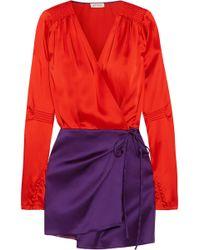 Attico - Smocked Two-tone Satin Mini Wrap Dress - Lyst