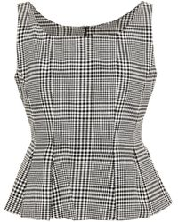 Erdem Kelsi Pleated Prince Of Wales Checked Cotton And Silk-blend Peplum Top Black