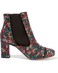 Tabitha Simmons | Micki Floral-Print Leather Ankle Boots | Lyst