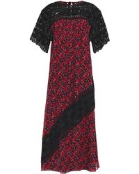 Anna Sui - Paneled Guipure Lace And Floral-print Crepe De Chine Dress Black - Lyst