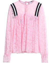 MSGM - Gathered Neon Lace Blouse Baby Pink - Lyst