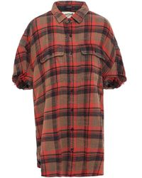 R13 Oversized Checked Brushed Cotton-flannel Shirt Tomato Red