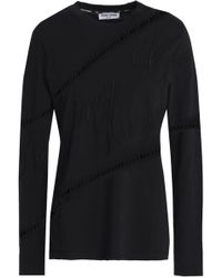 Opening Ceremony - Open Knit-trimmed Embroidered Cotton-jersey Top - Lyst