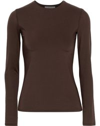 The Row Patri Stretch-jersey Top Dark Brown