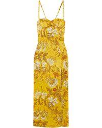 Dries Van Noten Floral Silk-jacquard Maxi Dress - Yellow
