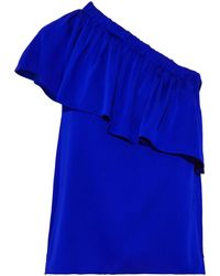 MILLY One-shoulder Ruffled Stretch-silk Crepe De Chine Top Royal Blue
