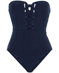 Jets by Jessika Allen Lace-up Stretch-jacquard Bandeau Swimsuit Navy - Blue